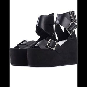 Jeffrey Campbell Toscany Leather Wedges Black